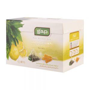 دمنوش چای سبز و لیمو با نبات گپ
