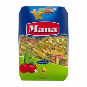 ماکارونی فرمی میکس سبزیجات 500 گرمی مانا